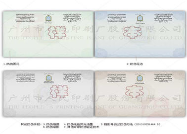 China Watermarked Paper Diploma Certificate Printing Security Thread With Multicolor Printed distributor