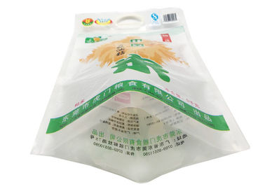 China 3 Layer 3 Side Seal Pouch With Hard Handle , Custom Sticker 50kg Rice Bag distributor